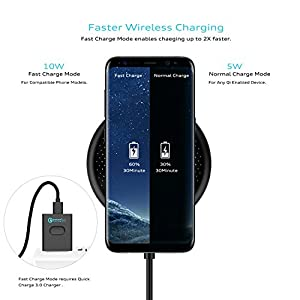 10W Fast Wireless Charger, DeepDream Qi Wireless Charging Pad for iPhone X, iPhone 8/8 Plus, Samsung Note 8 Galaxy S8/S8 Plus and all QI-Enabled Devices with QC3.0 Adapter (10W-Black)