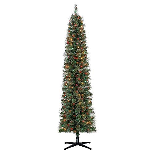 Home Heritage Stanley 7 Foot Skinny Slim Pencil Artificial Pre-Lit Pine Christmas Tree with Colored Lights (Pre Lit Christmas Tree Only Half Lit)