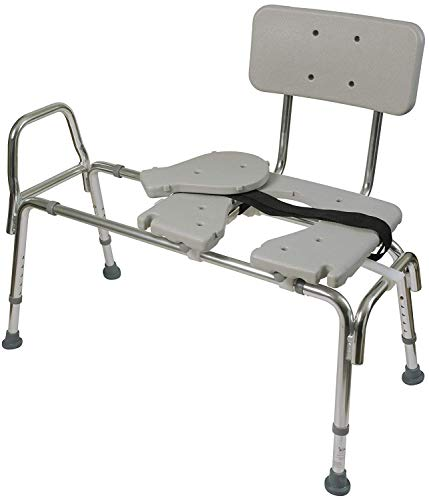 Duro-med Tub Transfer Bench and Sliding Shower Chair Made of Heavy Duty Non Slip Aluminum Body and Plastic Seat with Adjustable Seat Height and Cut Out Access Holding Weight Capacity upto 400lbs,Gray