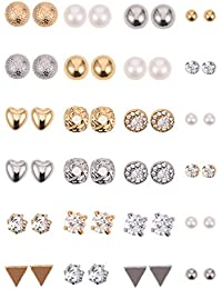 24 Pairs Stud Earrings Crystal Pearl Earring Set Ear Stud Jewelry for Girls Women Men, Silver and Gold