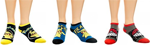 BIOWORLD-Pokemon-Pikachu-and-Pokeball-Ankle-Socks-3-Pack