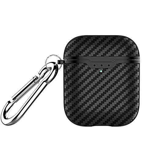 Carbon Fiber Texture Protective Cover for AirPods 2 Case Black,Front Led Visible,Ultra Slim Shockproof Skin Compatible with Apple Airpods 2 2019(Black-Texture)
