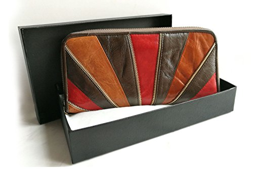 Brown Leather Clutch with Zip Poet Wallet Vintage Box Gift La RzPaqn