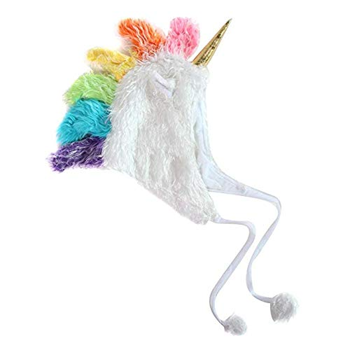 Storybook Wishes Plush Soft Fuzzy Unicorn Adult Hat (White),Large