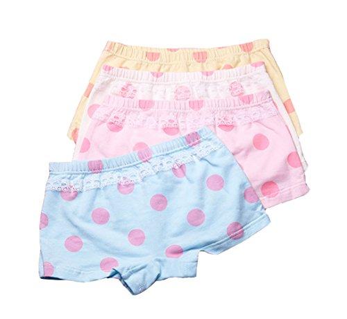 2-8 Years Girls Polka Dot Lace Trim Boyshort Underwear Stretch Panties,4 Pack (Dot Polka Trim Lace)