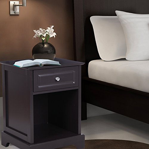 ELEGAN Wooden Nightstands with Single Drawer and Shelf, Brown