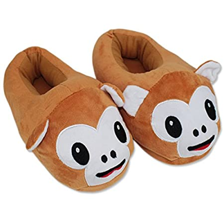 Cute Monkey Slippers Plush Cotton Comfortable Indoor Bedroom Shoe For Big Kids & Women With Non-Skid Footpads ~ We Pay Yours Sales Tax