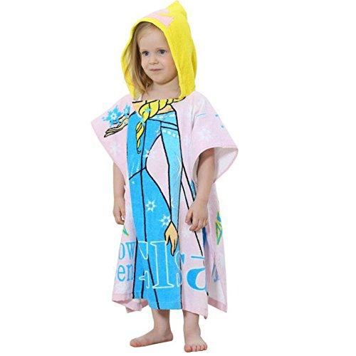 Duolaimi Cartoon Children Poncho Hooded Frozen Pattern Beach (Free Fleece Poncho Patterns)