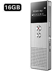 Diktiergerät BENJIE 16G Diktiergerät Digital Voice-Recorder Digitales Diktiergerät, Upgraded Small Tape Recorder mit Doppel Mikrofon Unterstützung TF Card 32G Expand für Lectures Meetings