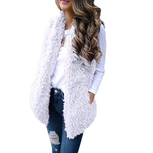 Sunhusing Women's Winter Soft Warm Plush Vest Trendy Sleeveless Waistcoat Jacket with ()