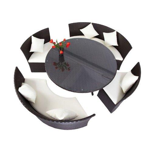 OUTFLEXX Esstischgruppe aus Polyrattan, Kreis komplett schließbar, à 160cm in braun