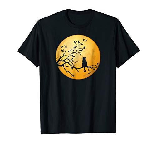 Silhouette Cat in Tree Full Moon Halloween T-Shirt