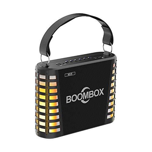 GAIXIA Wireless Bluetooth Speaker Portable Flame Light Speech Outdoor Portable Mobile KTV Wireless Microphone High Power Audio Bluetooth Speaker (Color : Black) (Best Sound Karaoke On Demand)