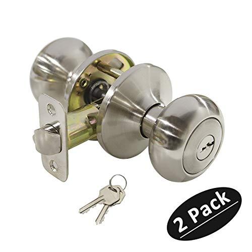 (Keyed Entry Door Lockset Biscuit Style Exterior Entrance Knob in Satin Nickel,Keyed Alike,2 Pack)