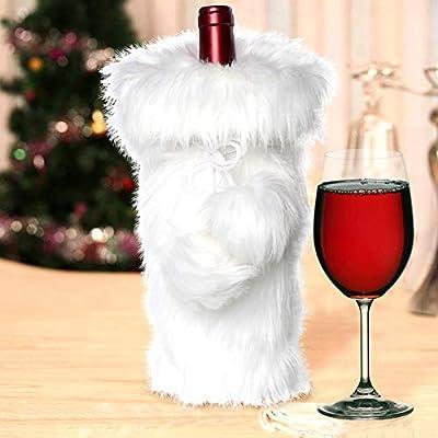 Christmas Wine.Aerwo Faux Fur Wine Bottle Bag White Christmas Wine Bottle Cover For Winter Holiday Party Decorations 13 X 6 Inch