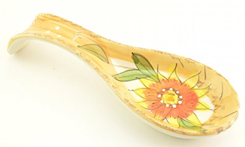 Sunflower Spoon Rest - Dlusso Sunflower Ceramic Spoon Rest