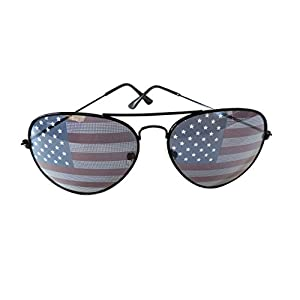 American Flag Aviator Sunglasses Stars Stripes Sunglasses Unisex Sunglasses UV400 Protection (Black, USA Flag)