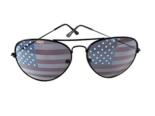 American Flag Aviator Sunglasses Stars Stripes Sunglasses Unisex Sunglasses UV400 Protection (Black, USA - Sale Go Sunglasses When On Do