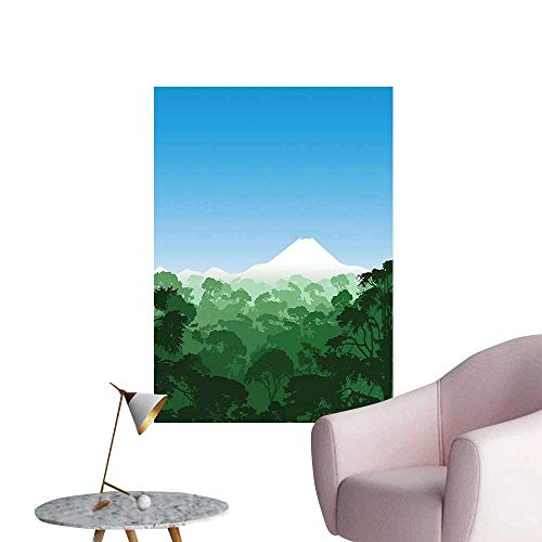 Wall Decals Valley Full TRE Lush Canopy Woodland Landscape Hunter Green Blue Environmental Protection Vinyl,20