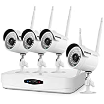 ANNKE Wi-Fi Wireless Security Camera System 1080P HDMI NVR with 500GB Hard Drive and (4) 720P HD Indoor/Outdoor Wireless Cameras Night Vision - WiFi Easy Installation No Video Cables Needed