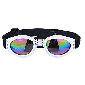 Pet Dog Cat UV Protective Foldable Sunglasses Lenses Eye Wear Protection with Adjustable Strap (White) by ZGY