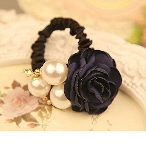 B&Y Original Manual Roses Han Edition Hair Bands Headband Ponytail Holder Hair Tie Band (Blue)