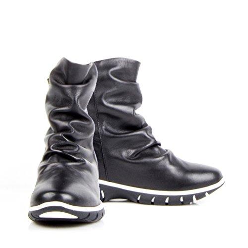 Felmini - Zapatos para Mujer - Enamorarse con Runner 9343 - Botas Deportivos - Genuine Cuero - Negro - 0 EU Size Negro