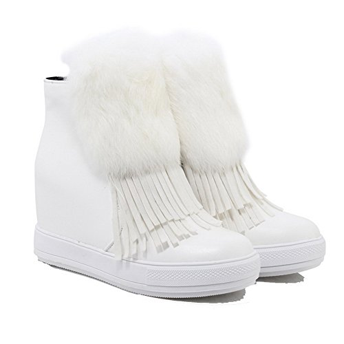 White Women's Boots high Heels High WeenFashion Closed Solid Frosted Toe Ankle Round PRRSdqwZx