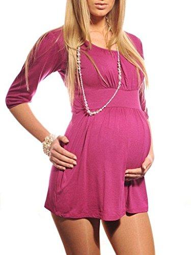 Purpless Maternity Nueva Maternidad V-Cuello Túnica el Embarazo 5058 Dark Pink
