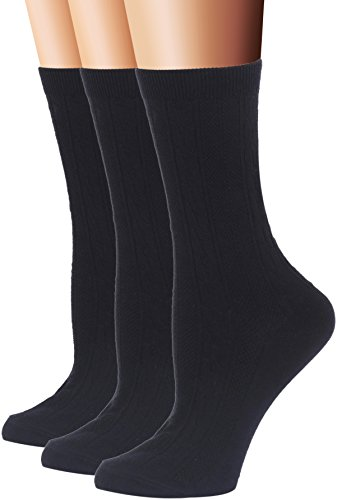 (Flora&Fred Women's Cable Knit Cotton Crew Socks, Size 9-11 / Shoe Size 5-9, Black, 3 Pairs)
