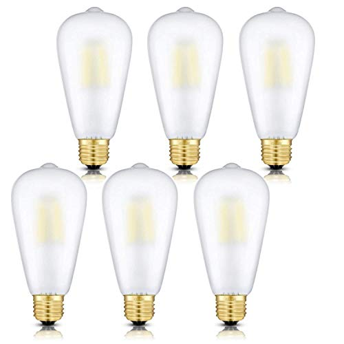 CRLight LED Edison Bulb 4W Daylight White 4000K 400LM Dimmable, 40W Incandescent Equivalent, Replace 8W Compact Fluorescent CFL Bulbs, E26 Base ST64 Vintage Frosted Glass, 6 Pack - Bulb Led Frosted