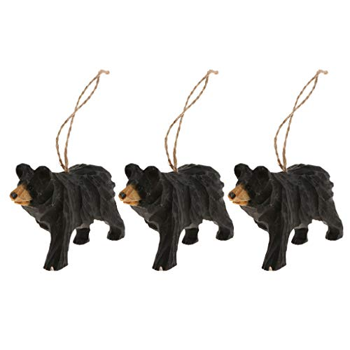 Baosity 3 Pieces Hand Carved Wooden Black Bear Hanging Animal Statue Figurines Sculpture Wooden Hanging Christmas Ornament Home Garden Rustic Decorations