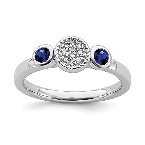 925 Sterling Silver Dbl Round Created Sapphire Diamond Band Ring Size 8.00 Stone Stackable Gemstone Birthstone September Fine Jewelry Gifts For Women For Her