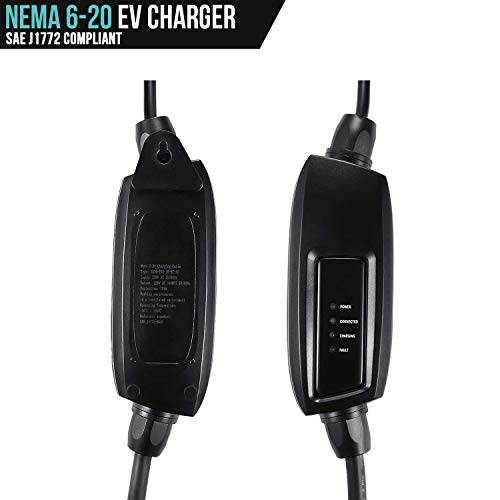 LECTRON 240V 16 Amp Level 2 EV Charger with 21ft (6.4m) Extension Cord J1772 Cable and NEMA 6-20 Plug by LECTRON (Image #2)