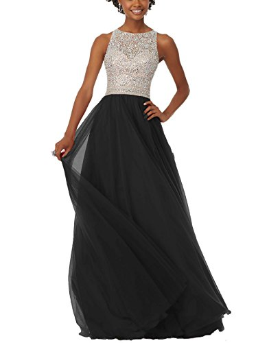 Dress Prom DreHouse A Crystal Gowns line Black Evening Tulle Women's Beaded Backless 0Zw0xgp