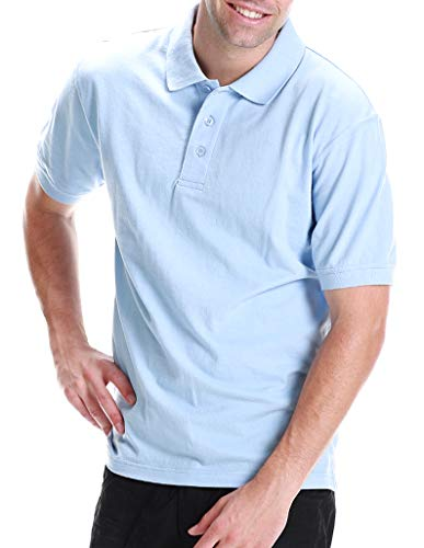 ALL Polo Men's Short Sleeve 3 Button Plain Polo Shirts for Men, Size Large, Sky Blue (Chest23)