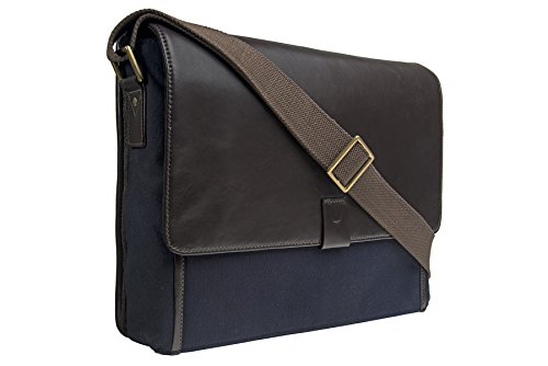 HIDESIGN Aiden Canvas Leather Laptop Messenger, Blue by HIDESIGN