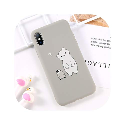 Phone Case for iPhone 6 6s 7 8 Plus X XR XS Max Fashion Cute Cartoon Bear Rabbit Soft TPU for iPhone X Phone Case Cover,T2,for iPhone 8]()