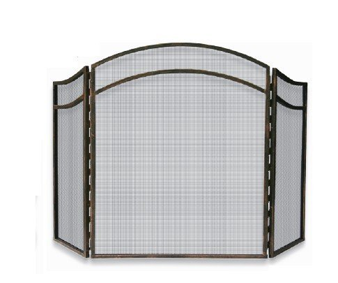 Uniflame, S-1692, 3 Fold Antique Rust Wrought Iron Arch Top Screen ()