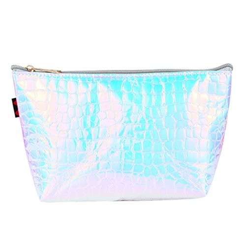 JAGENIE Hologram Holographic Pencil Pen Case Bag Cosmetic Makeup Storage Bags Purse Silver