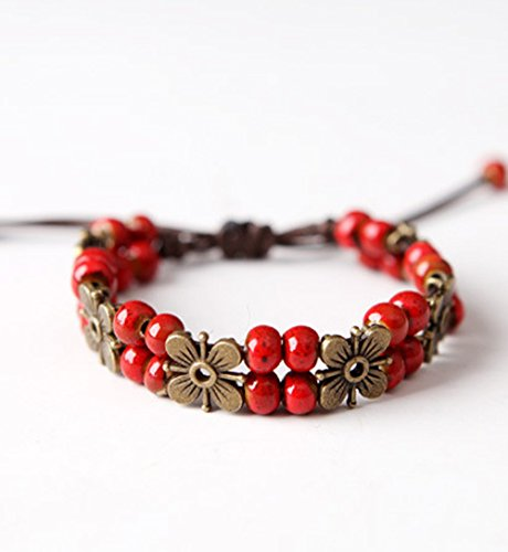 Winter's Secret Handmade Ancient Ceramic Beaded Flower Temperament Red Wrap Bracelet (Flash Rubber Wig)