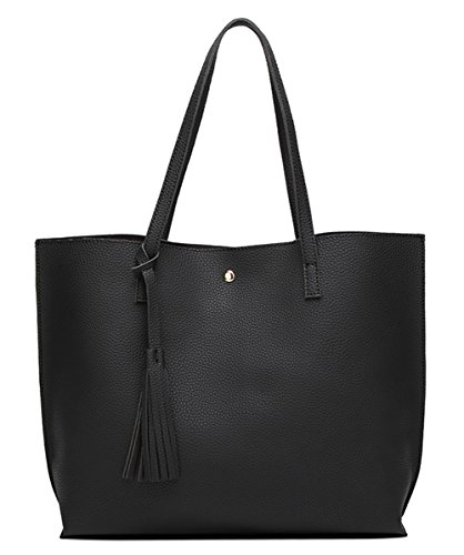 - Women's Soft Leather Tote Shoulder Bag from Dreubea, Big Capacity Tassel Handbag Black
