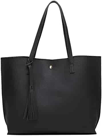 Women's Soft Leather Tote Shoulder Bag from Dreubea, Big Capacity Tassel Handbag