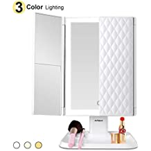 Makeup Mirror Vanity Mirror with Lights - 3 Color Lighting Modes Trifold Mirror with 72 LEDs, Touch Control, 1x/2x/3x Magnification, Portable High Definition Cosmetic Lighted Up Mirror