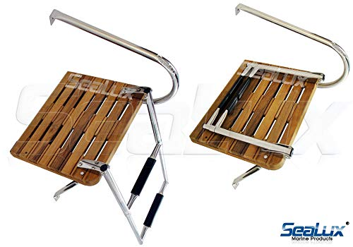 SeaLux Marine Outboard Teak Swim Platform with Over TOP Mount 2-Step Ladder