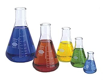 Kimble Erlenmeyer Flask Starter Pack, Borosilicate Glass, one each of sizes 50, 125, 250, 500, and 1000 mL