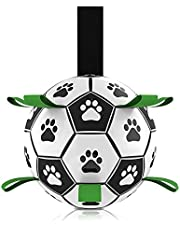 Dog Toys Soccer Ball, Durable Interactive Dog Indoor Outdoor Toys Jolly Balls, Dog Tug Toy for Small & Medium Dogs (6Inch with Pump)