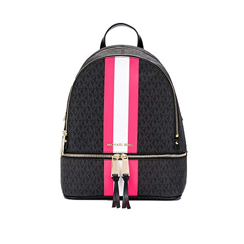 MICHAEL Michael Kors Rhea Medium Logo Stripe Backpack, Color 658 Black/Neon Pink