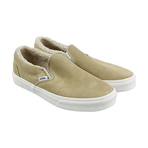 05113ea85d1042 Galleon - Vans Classic Slip On Suede Fleece Khaki True White Men s Skate  Shoes Size 3.5