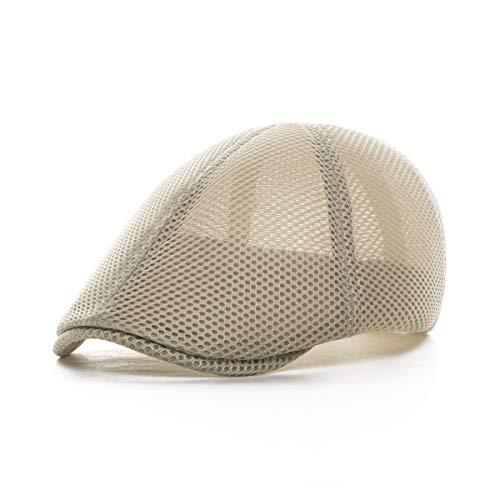 VOBOOM Men Breathable mesh Summer hat Newsboy Beret Ivy Cap Cabbie Flat Cap (Style2- Khaki)